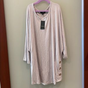 2 for $10-soft gray top with gold accent cuffs